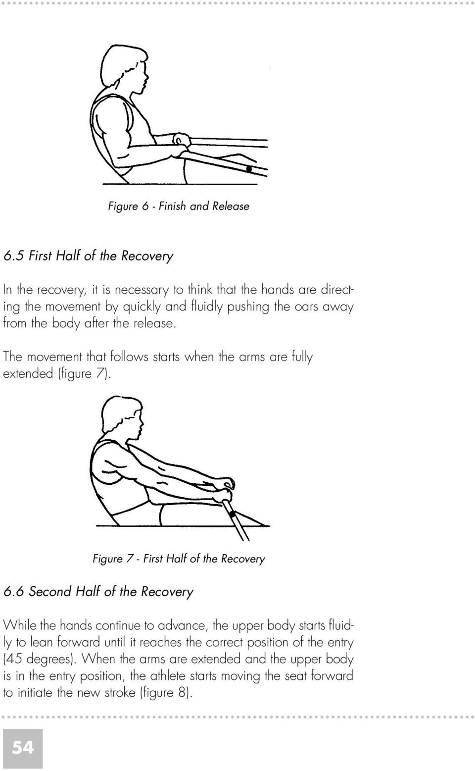 body after the release. The movement that follows starts when the arms are fully extended (figure 7). Figure 7 - First Half of the Recovery 6.