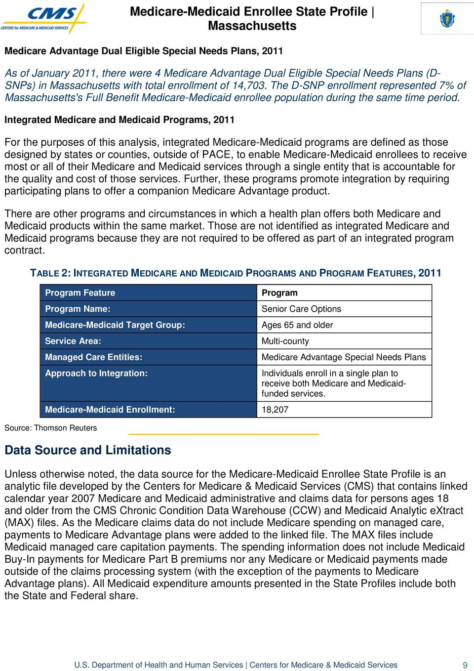 Integrated Medicare and Medicaid Programs, 2011 For the purposes of this analysis, integrated Medicare-Medicaid programs are defined as those designed by states or counties, outside of PACE, to
