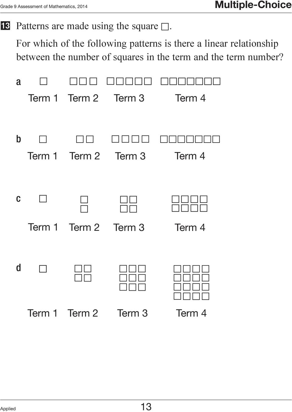 For which of the following patterns is there a linear relationship between the number of