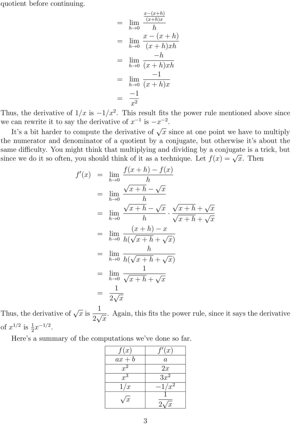 It s a bit arder to compute te derivative of x since at one point we ave to multiply te numerator and denominator of a quotient by a conjugate, but oterwise it s about te same difficulty.