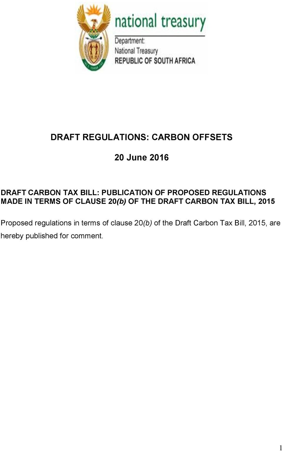 THE DRAFT CARBON TAX BILL, 2015 Proposed regulations in terms of clause