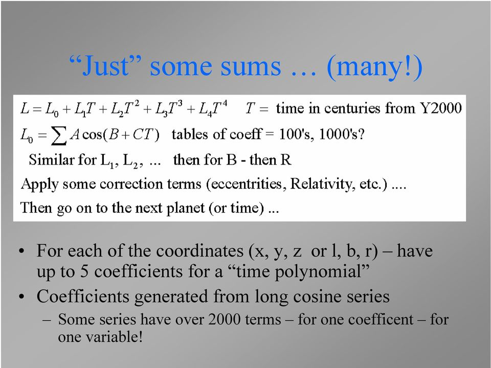 to 5 coefficients for a time polynomial Coefficients
