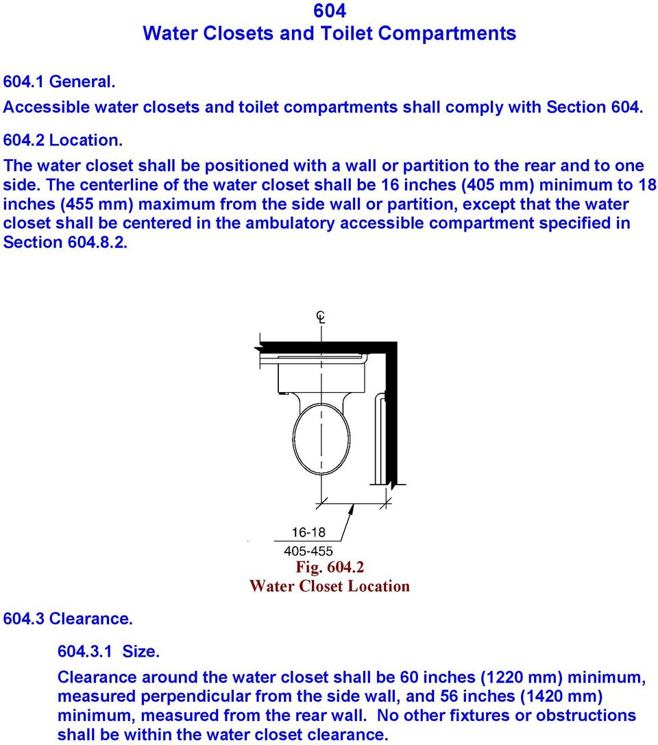 The centerline of the water closet shall be 16 inches (405 mm) minimum to 18 inches (455 mm) maximum from the side wall or partition, except that the water closet shall be centered in the ambulatory