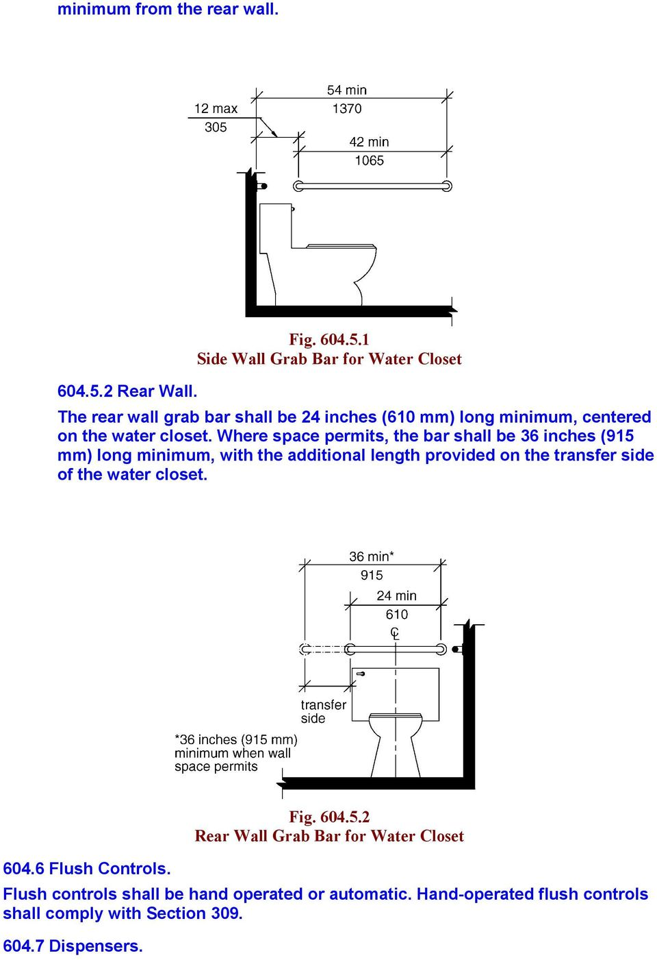 1 Side Wall Grab Bar for Water Closet The rear wall grab bar shall be 24 inches (610 mm) long minimum, centered on the water closet.