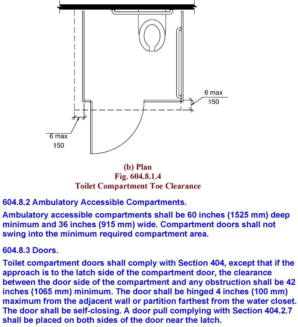 Toilet compartment doors shall comply with Section 404, except that if the approach is to the latch side of the compartment door, the clearance between the door side of the compartment and any