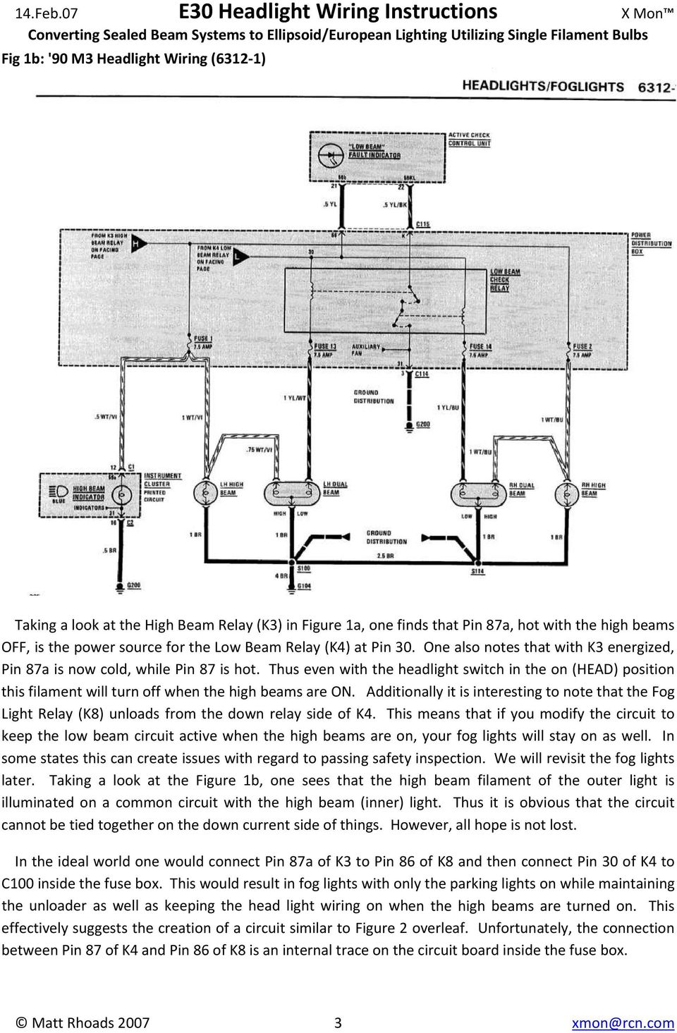 e30 headlight wiring instructions converting sealed beam. Black Bedroom Furniture Sets. Home Design Ideas