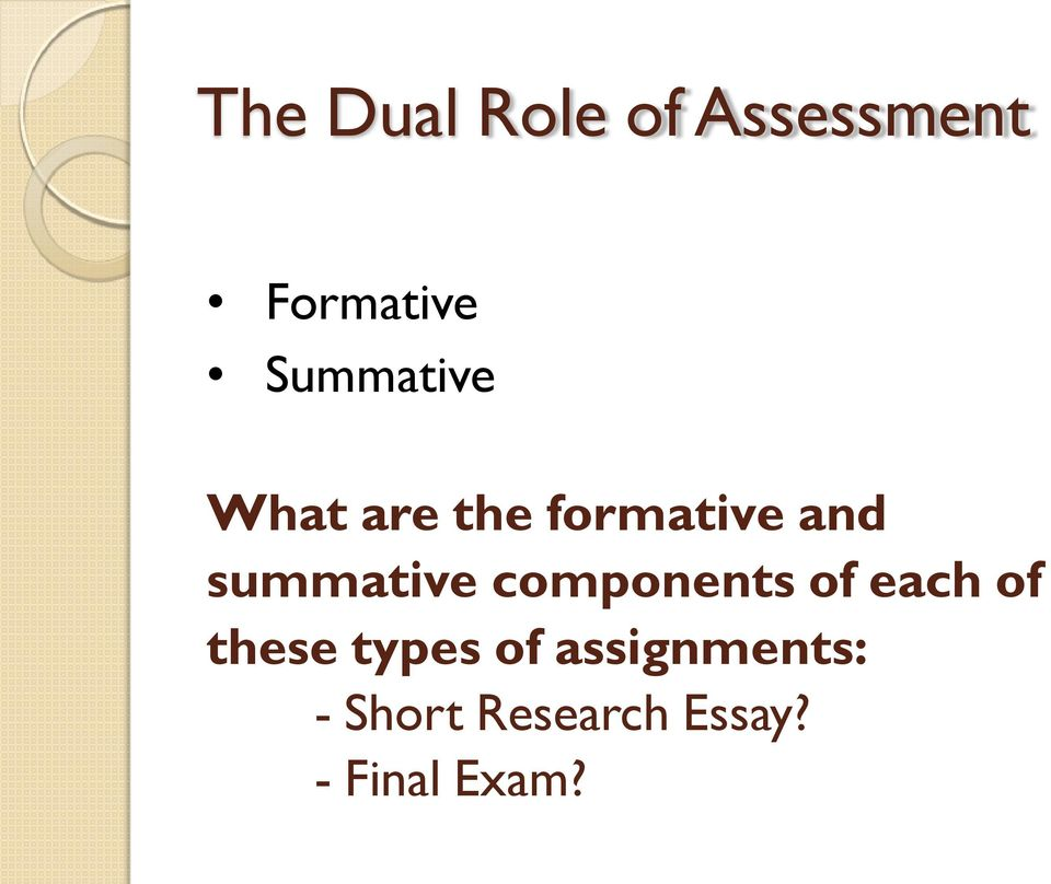 summative components of each of these