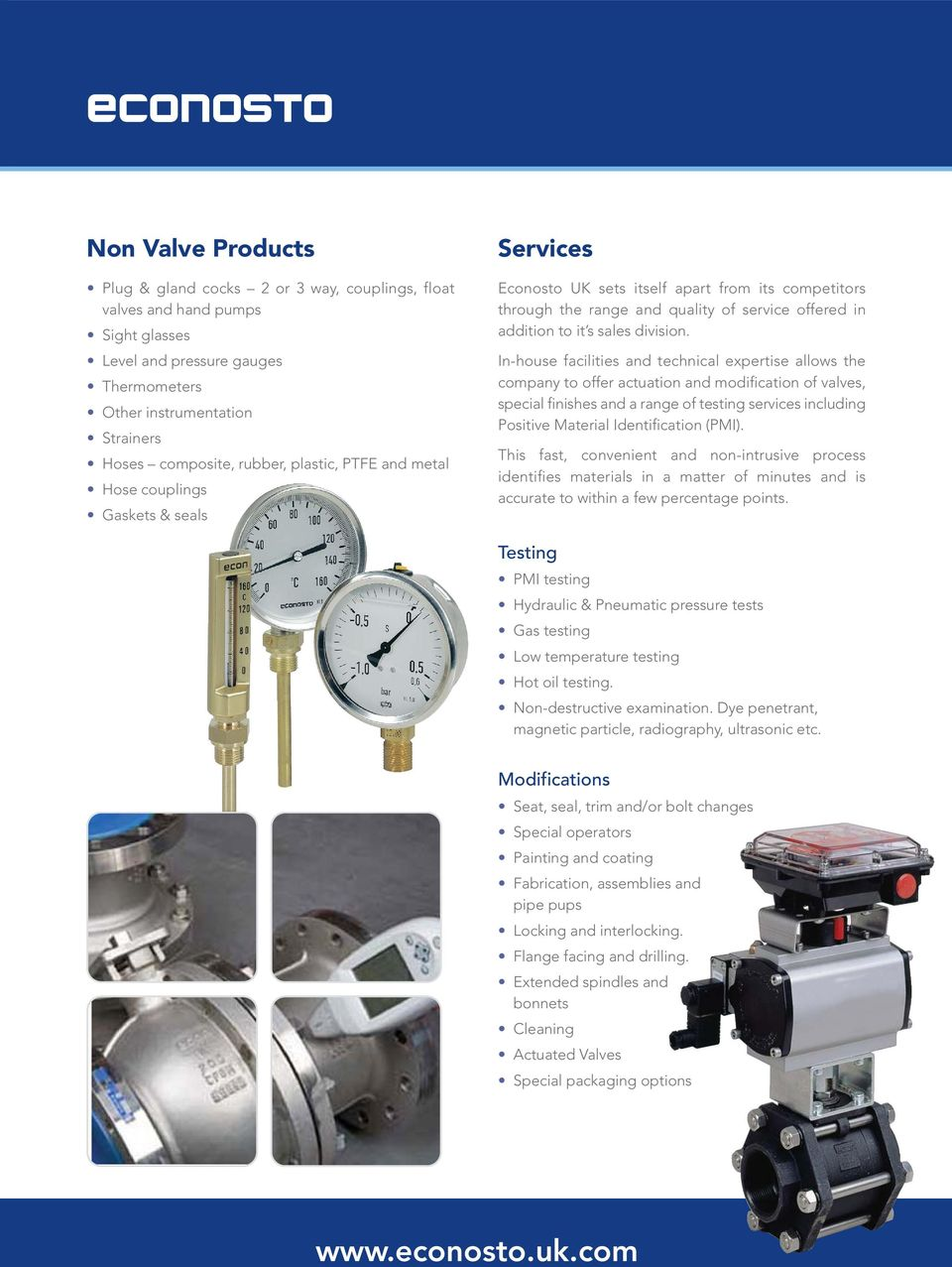 In-house facilities and technical expertise allows the company to offer actuation and modification of valves, special finishes and a range of testing services including Positive Material