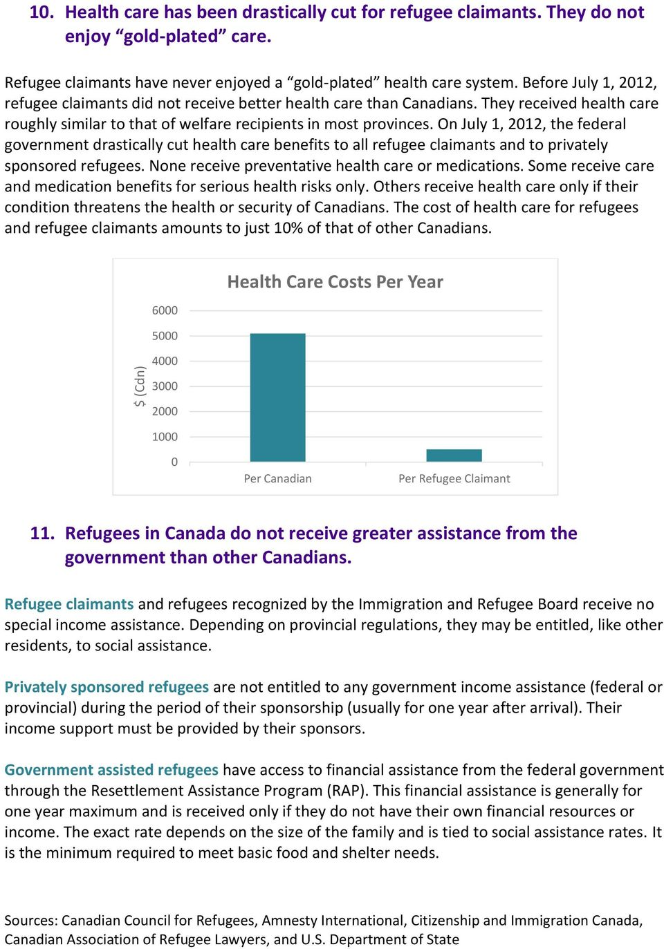 On July 1, 2012, the federal government drastically cut health care benefits to all refugee claimants and to privately sponsored refugees. None receive preventative health care or medications.