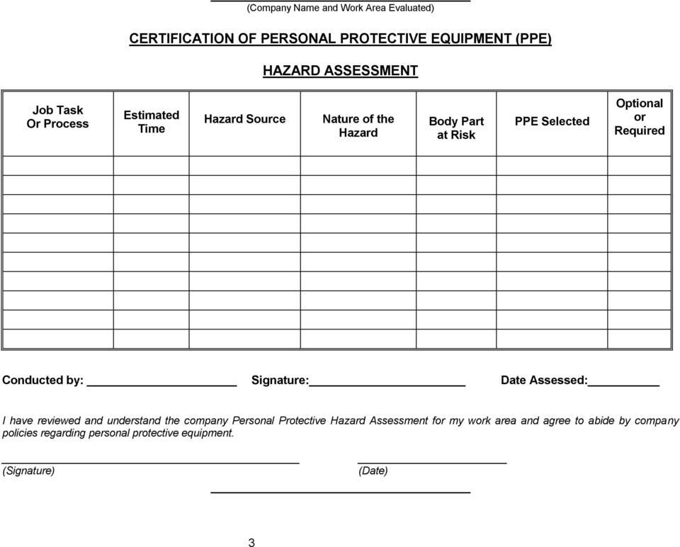 Conducted by: Signature: Date Assessed: I have reviewed and understand the company Personal Protective Hazard
