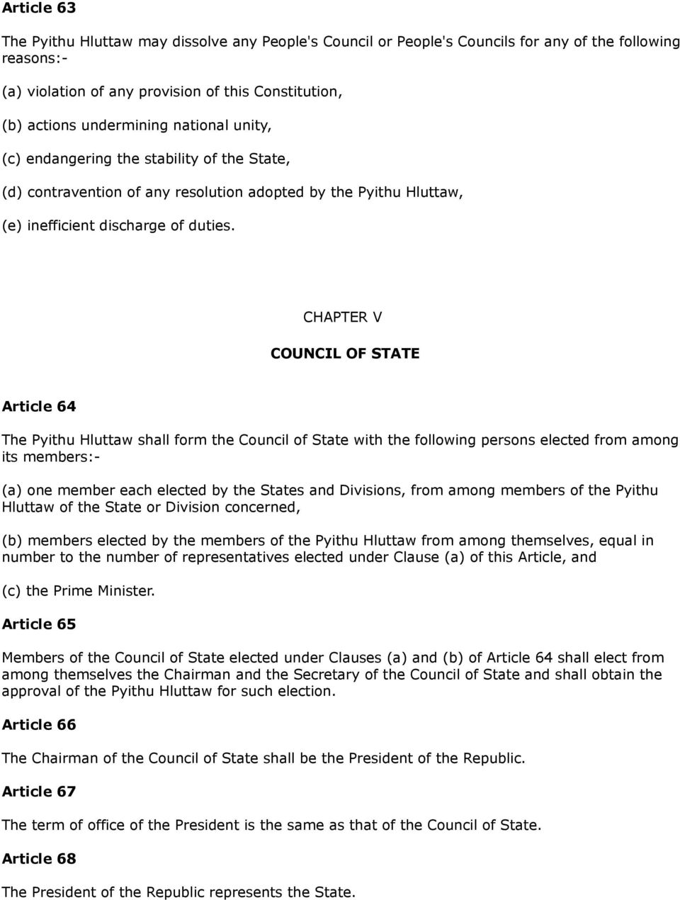 CHAPTER V COUNCIL OF STATE Article 64 The Pyithu Hluttaw shall form the Council of State with the following persons elected from among its members:- (a) one member each elected by the States and