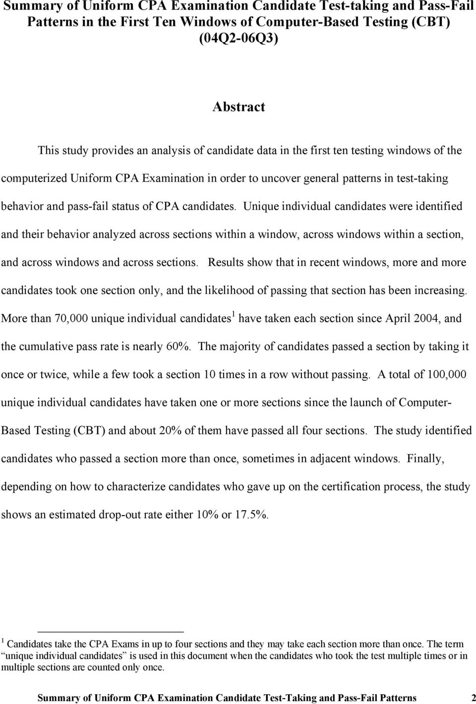 Unique individual candidates were identified and their behavior analyzed across sections within a window, across windows within a section, and across windows and across sections.