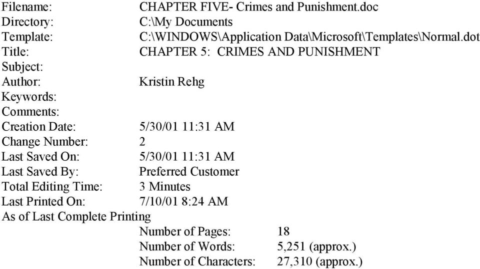 dot Title: CHAPTER 5: CRIMES AND PUNISHMENT Subject: Author: Kristin Rehg Keywords: Comments: Creation Date: 5/30/01 11:31 AM Change