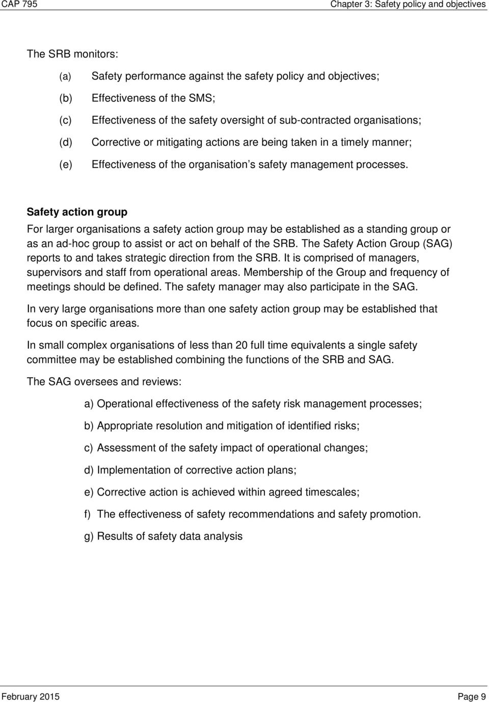 Safety action group For larger organisations a safety action group may be established as a standing group or as an ad-hoc group to assist or act on behalf of the SRB.