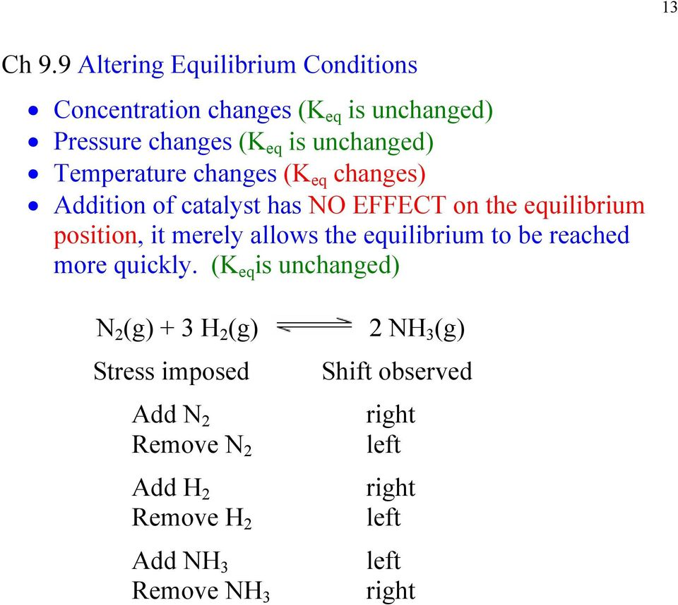 Temperature changes (K eq changes) Addition of catalyst has NO EFFECT on the equilibrium position, it merely