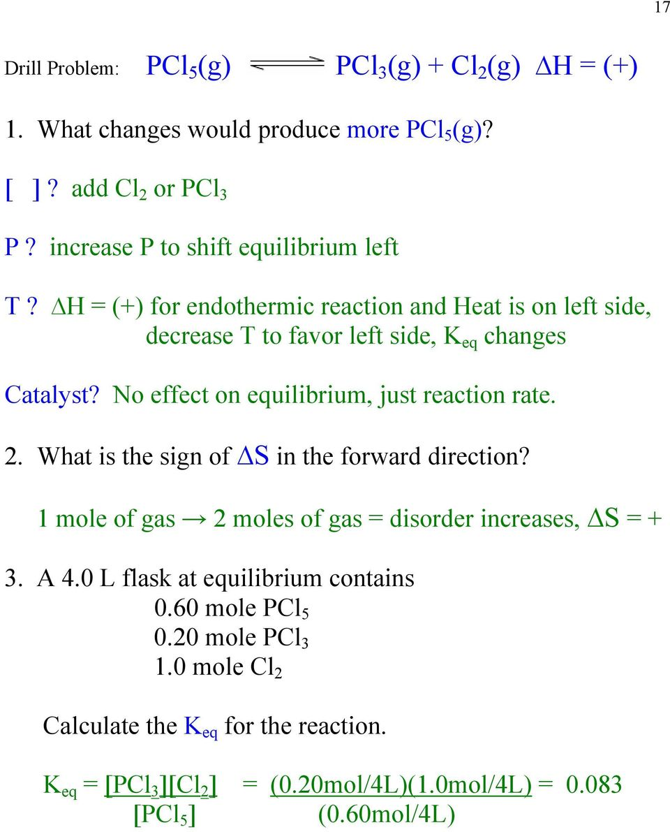 No effect on equilibrium, just reaction rate. 2. What is the sign of S in the forward direction? 1 mole of gas 2 moles of gas = disorder increases, S = + 3.