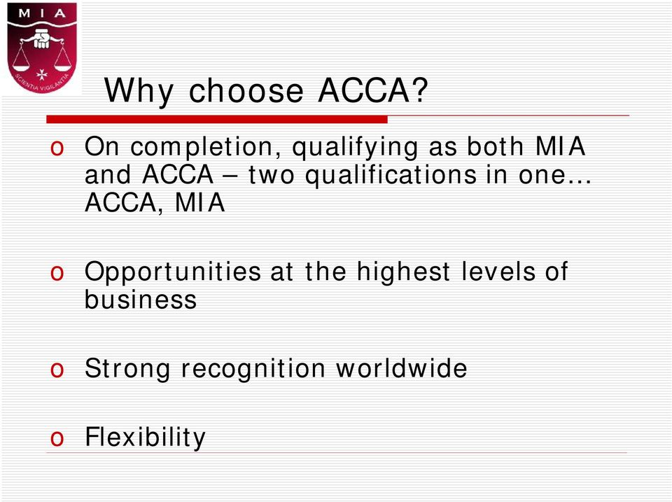 two qualifications in one ACCA, MIA o