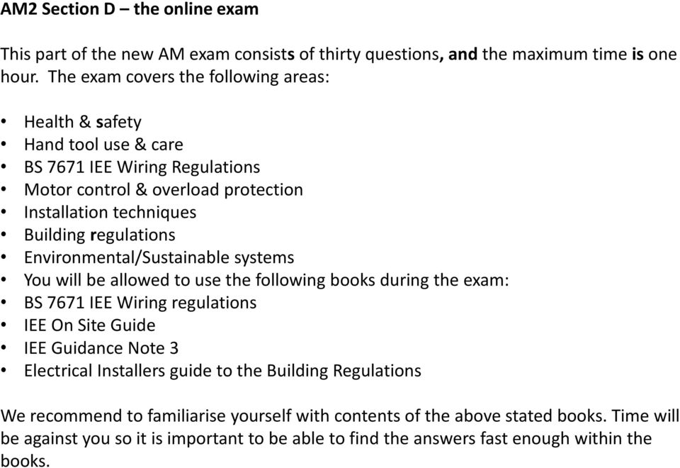 Guide to the am2 exam pdf regulations environmentalsustainable systems you will be allowed to use the following books during the greentooth Images