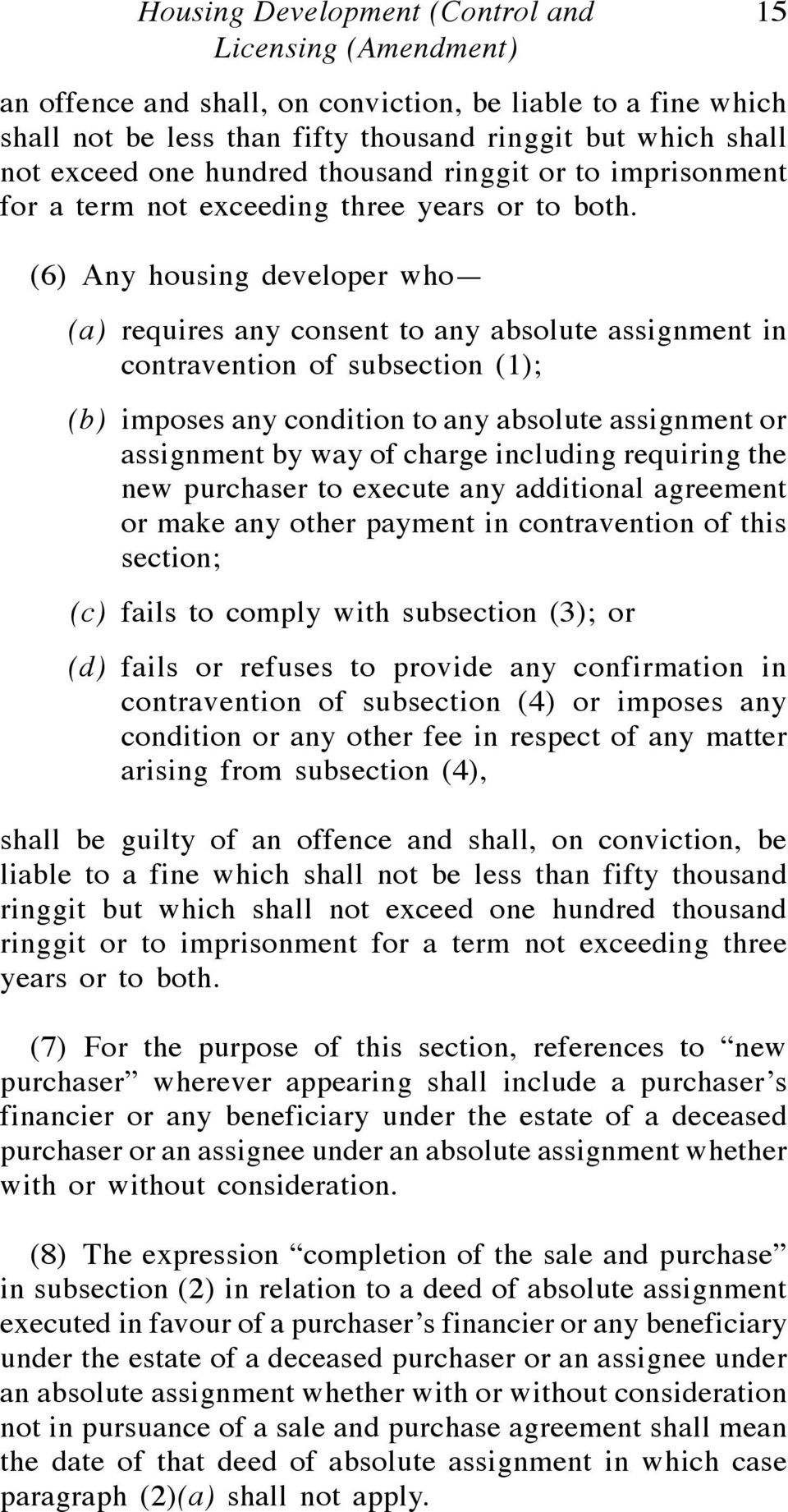 (6) Any housing developer who (a) requires any consent to any absolute assignment in contravention of subsection (1); (b) imposes any condition to any absolute assignment or assignment by way of