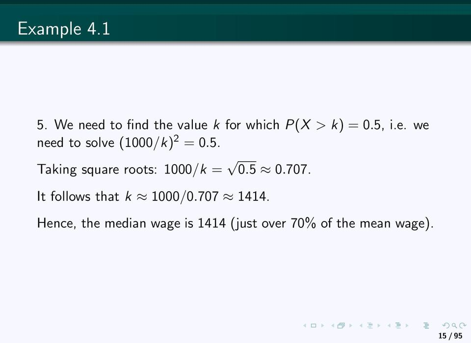 5. Taking square roots: 1000/k = 0.5 0.707.