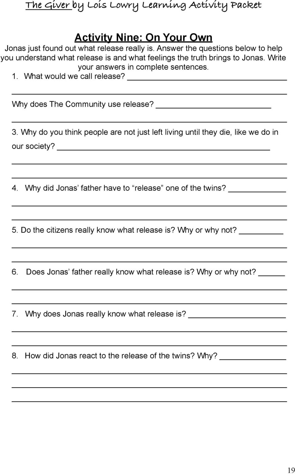 worksheet The Giver Symbolism Worksheet the giver by lois lowry learning activity packet pdf why does community use release 3 why