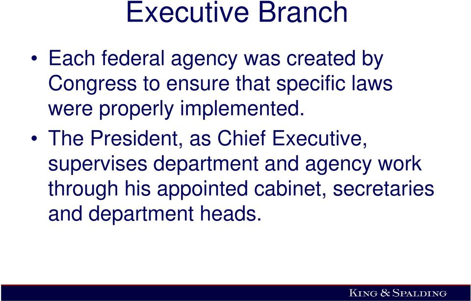 The President, as Chief Executive, supervises department and