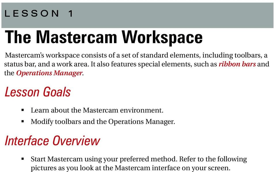 Lesson Goals Learn about the Mastercam environment. Modify toolbars and the Operations Manager.