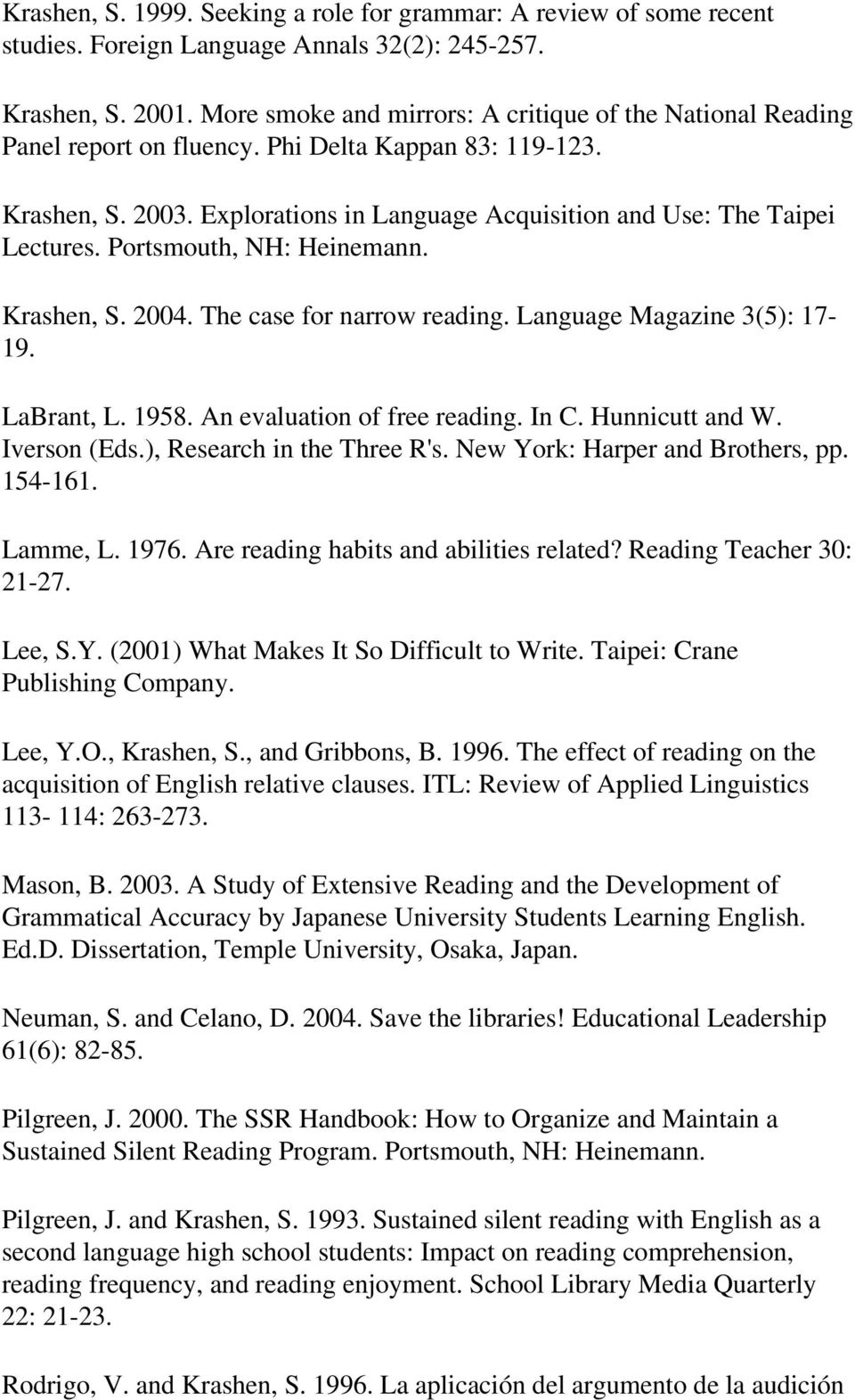 Portsmouth, NH: Heinemann. Krashen, S. 2004. The case for narrow reading. Language Magazine 3(5): 17-19. LaBrant, L. 1958. An evaluation of free reading. In C. Hunnicutt and W. Iverson (Eds.