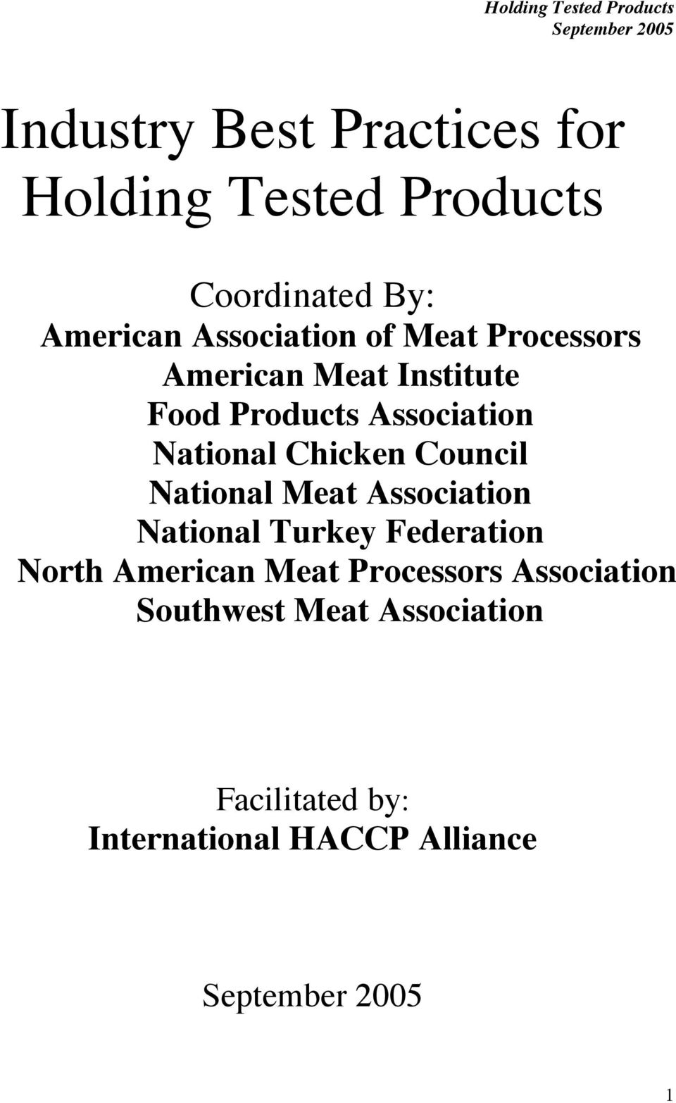 National Chicken Council National Meat Association National Turkey Federation North