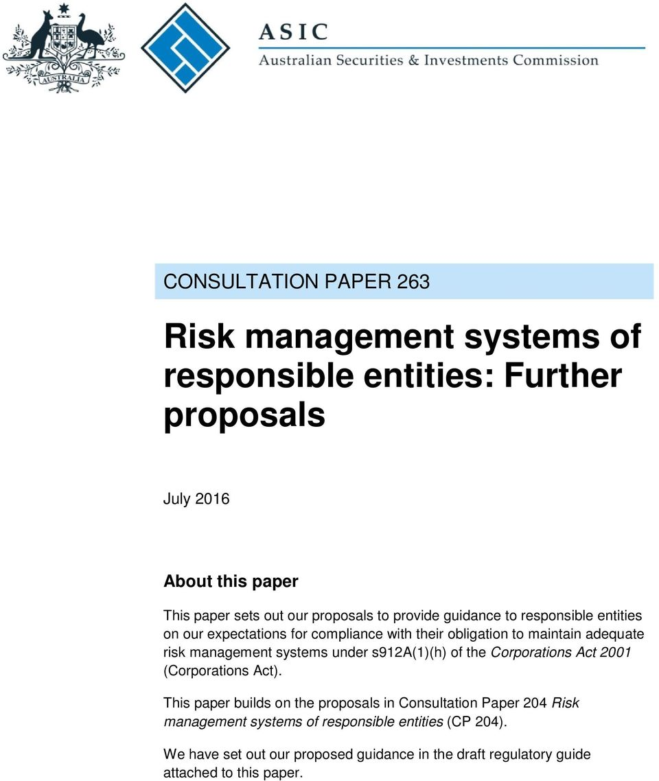 management systems under s912a(1)(h) of the Corporations Act 2001 (Corporations Act).