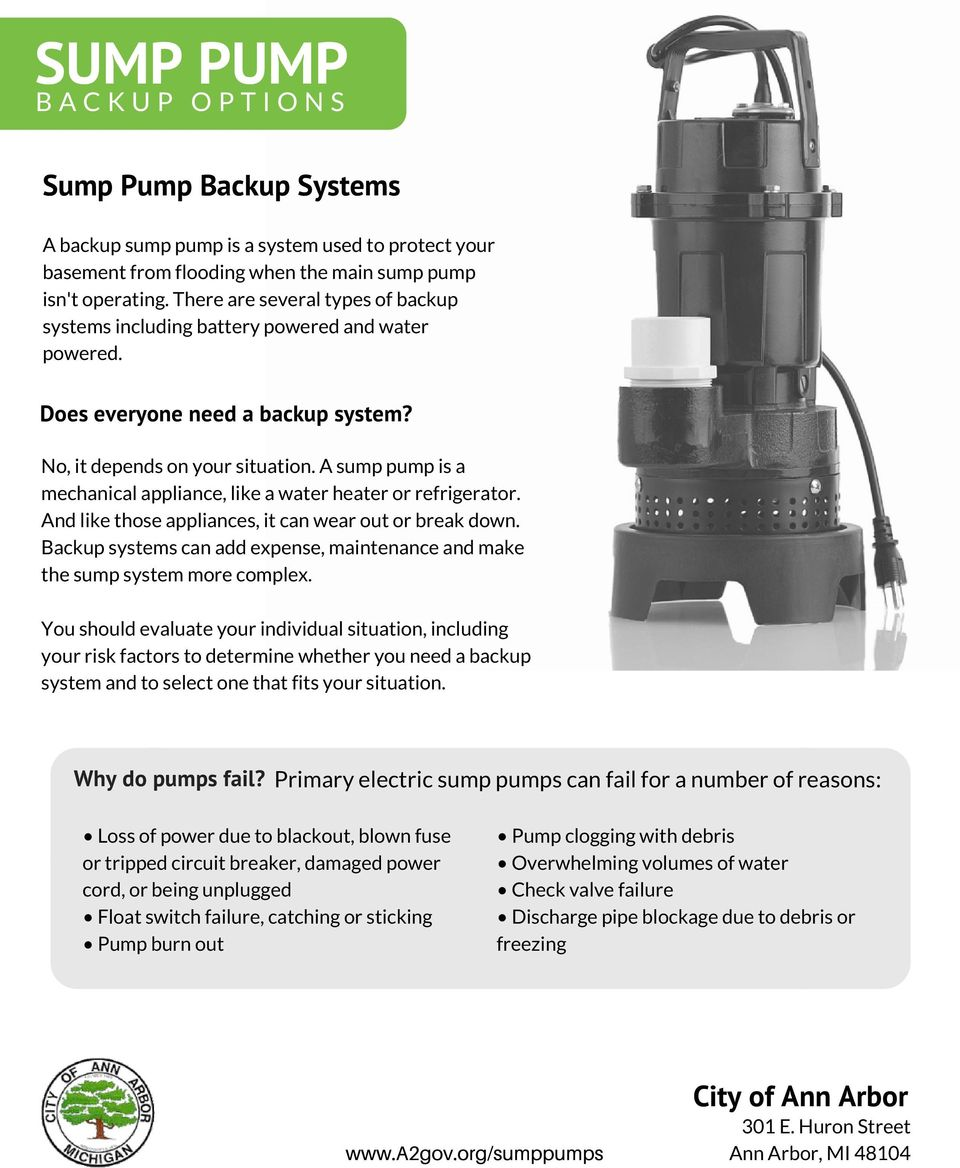 A sump pump is a mechanical appliance, like a water heater or refrigerator. And like those appliances, it can wear out or break down.