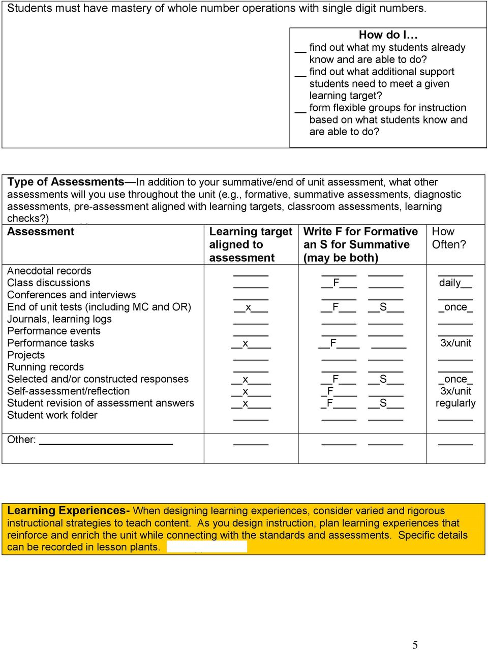 Type of Assessments In addition to your summative/end of unit assessment, what other assessments will you use through