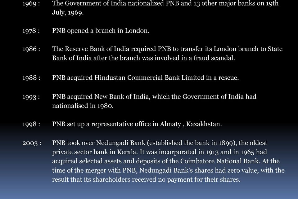 1988 : PNB acquired Hindustan Commercial Bank Limited in a rescue. 1993 : PNB acquired New Bank of India, which the Government of India had nationalised in 1980.