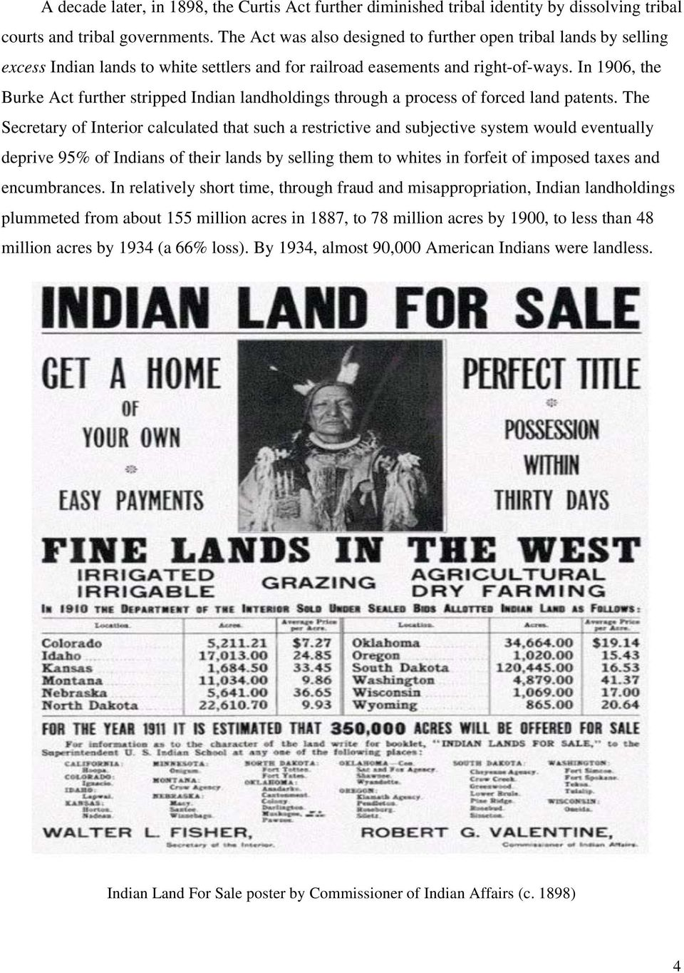 In 1906, the Burke Act further stripped Indian landholdings through a process of forced land patents.