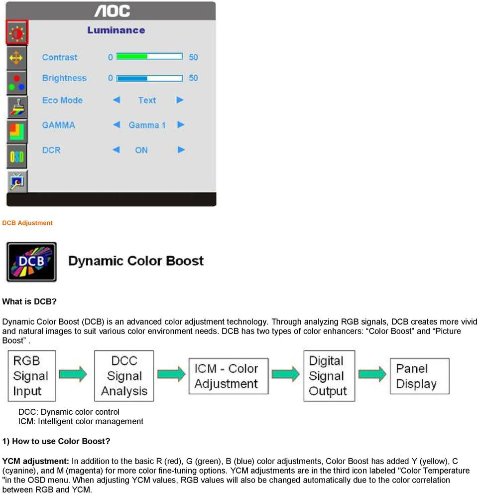 DCC: Dynamic color control ICM: Intelligent color management 1) How to use Color Boost?