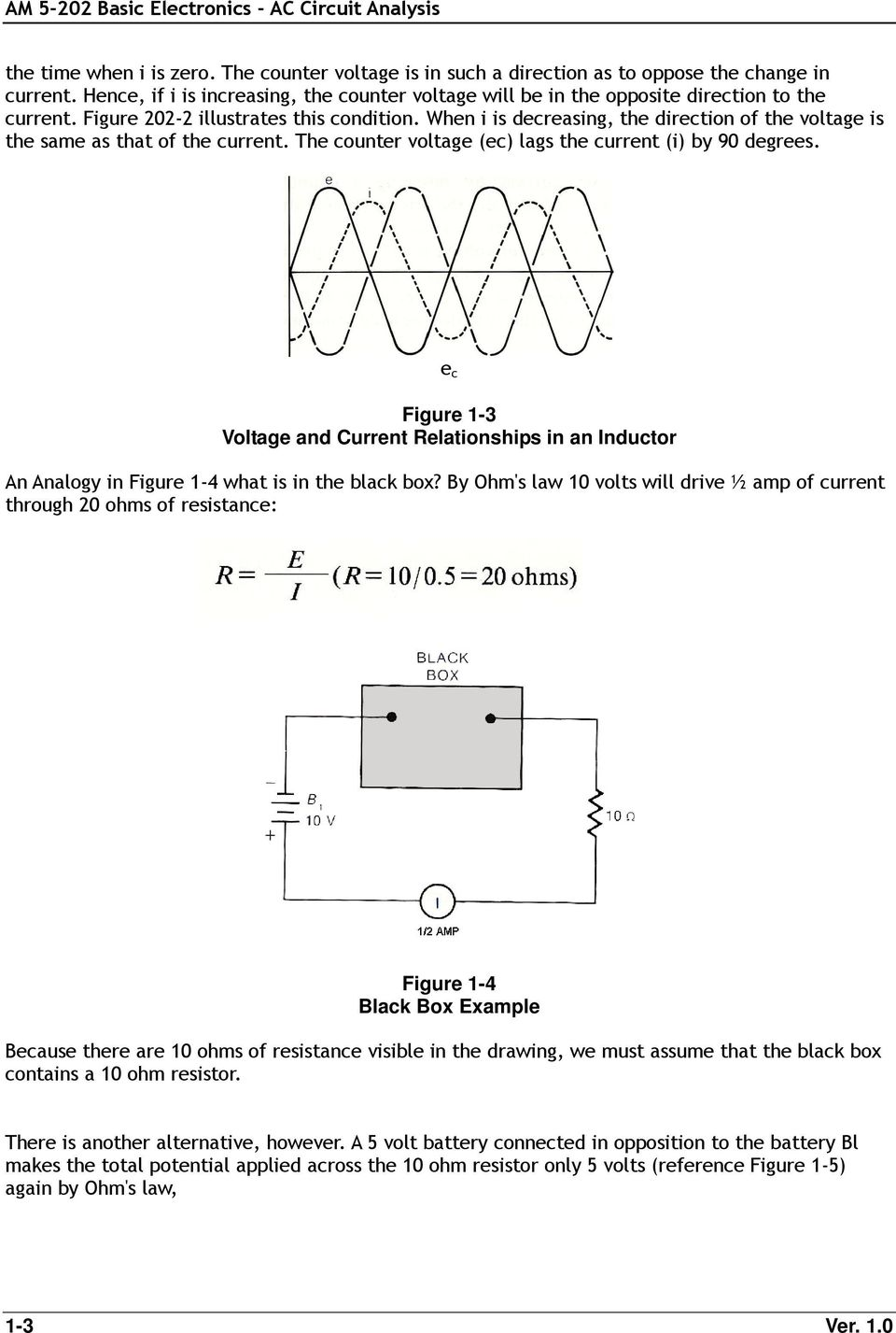 e c Figure 1-3 Voltage and Current Relationships in an Inductor An Analogy in Figure 1-4 what is in the black box?