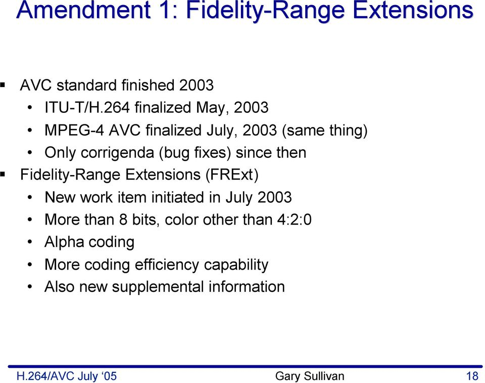 since then Fidelity-Range Extensions (FRExt) New work item initiated in July 2003 More than bits,
