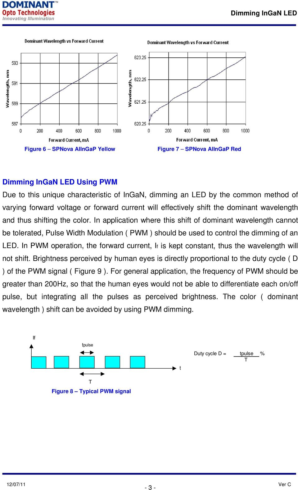In application where this shift of dominant wavelength cannot be tolerated, Pulse Width Modulation ( PWM ) should be used to control the dimming of an LED.