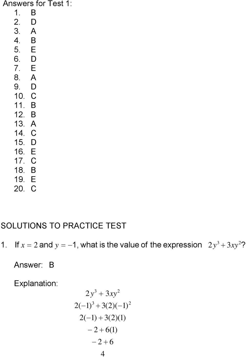 C SOLUTIONS TO PRACTICE TEST 1.
