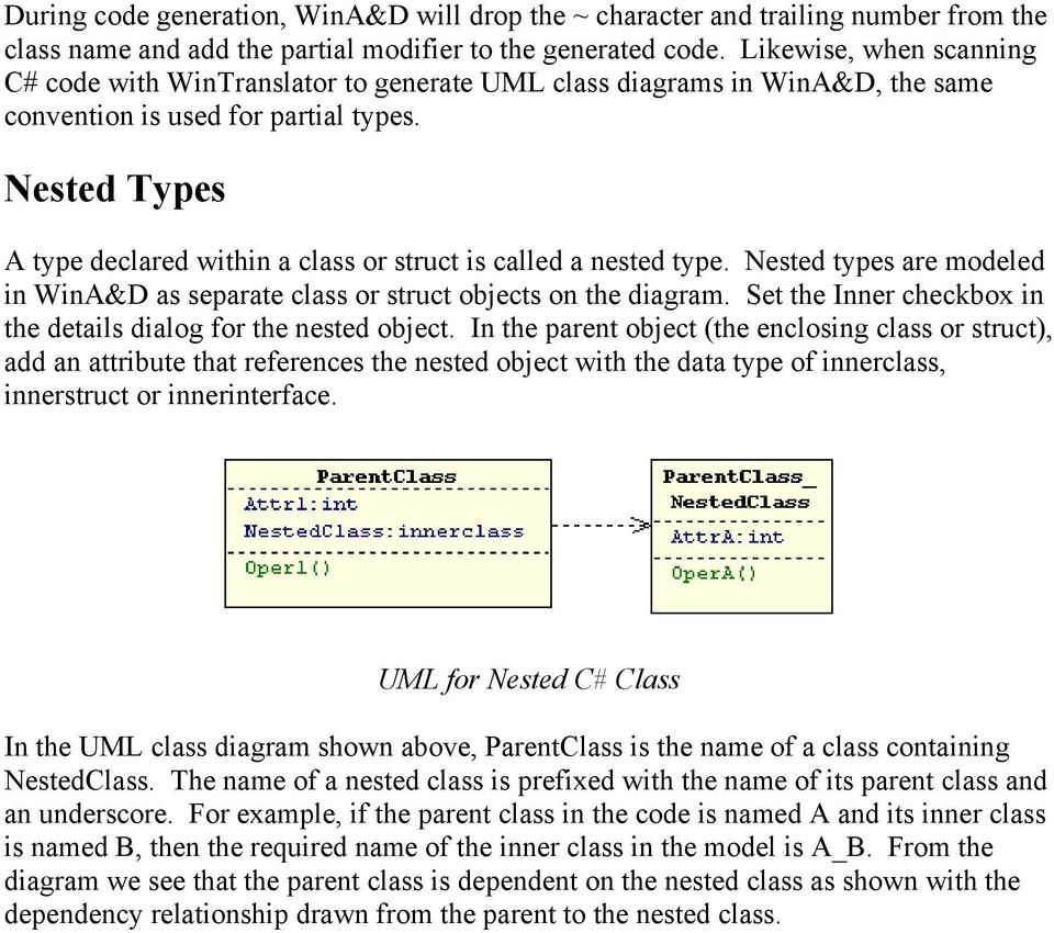 Nested Types A type declared within a class or struct is called a nested type. Nested types are modeled in WinA&D as separate class or struct objects on the diagram.