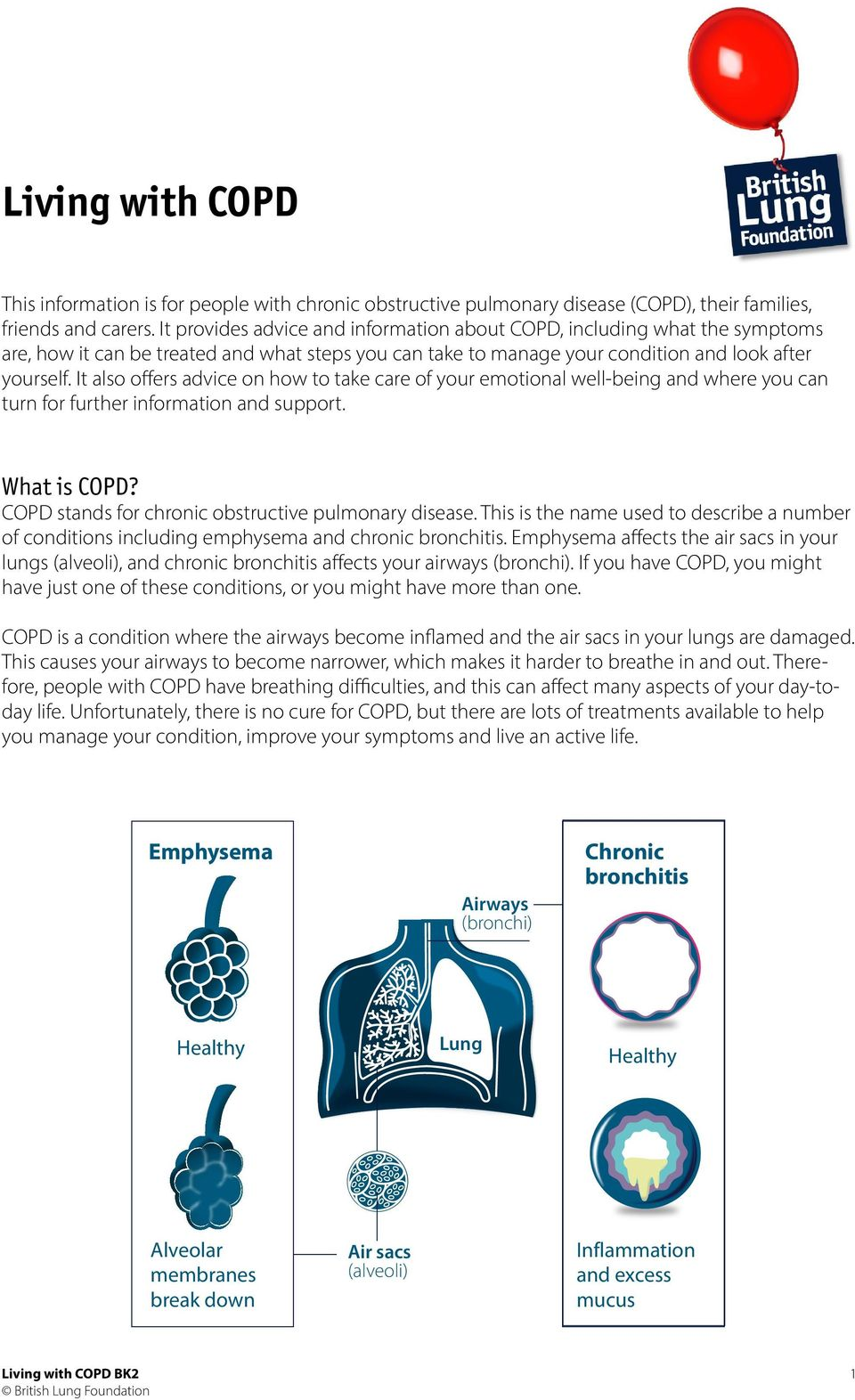 It also offers advice on how to take care of your emotional well-being and where you can turn for further information and support. What is COPD? COPD stands for chronic obstructive pulmonary disease.