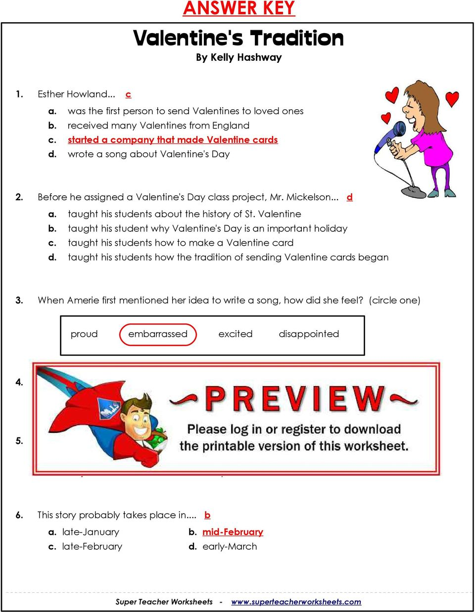 worksheet Because Of Winn Dixie Worksheets valentines tradition by kelly hashway pdf taught his student why day is an important holiday c students how