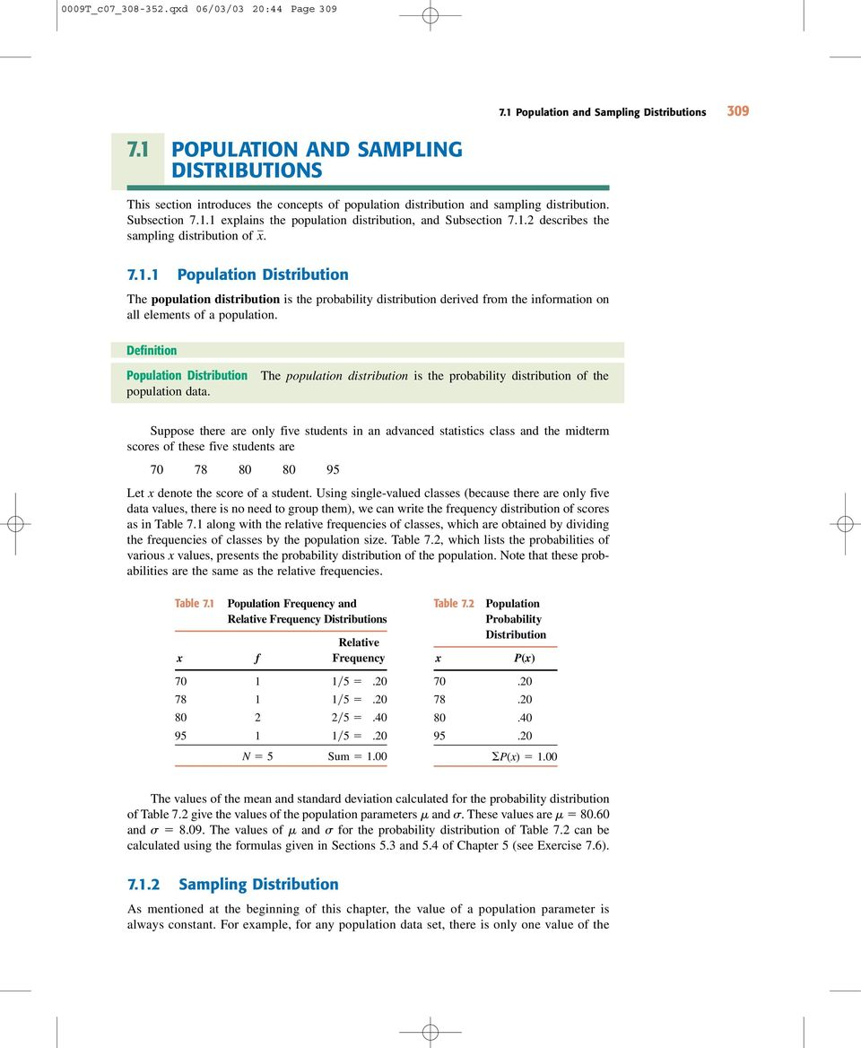 1.2 describes the sampling distribution of. 7.1.1 Population Distribution The population distribution is the probability distribution derived from the information on all elements of a population.