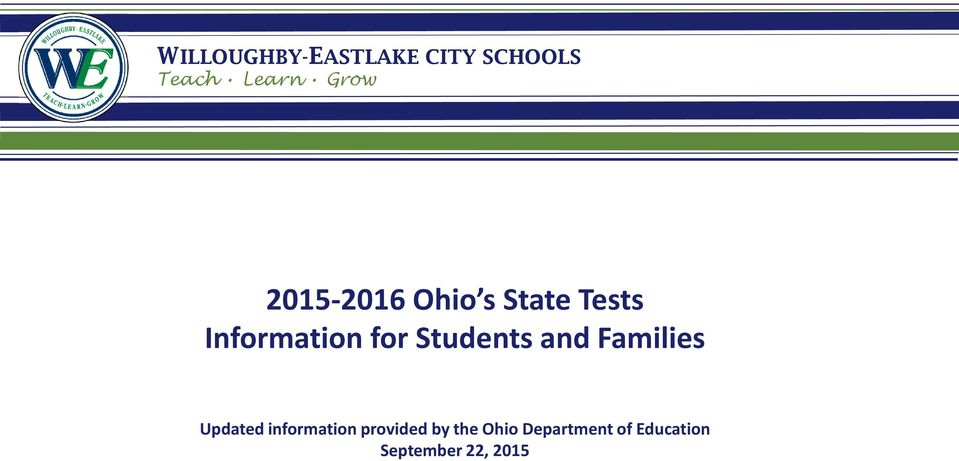Students and Families Updated information