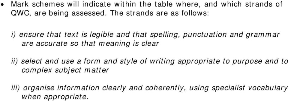 accurate so that meaning is clear ii) select and use a form and style of writing appropriate to purpose and