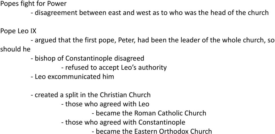- refused to accept Leo s authority - Leo excommunicated him - created a split in the Christian Church - those who