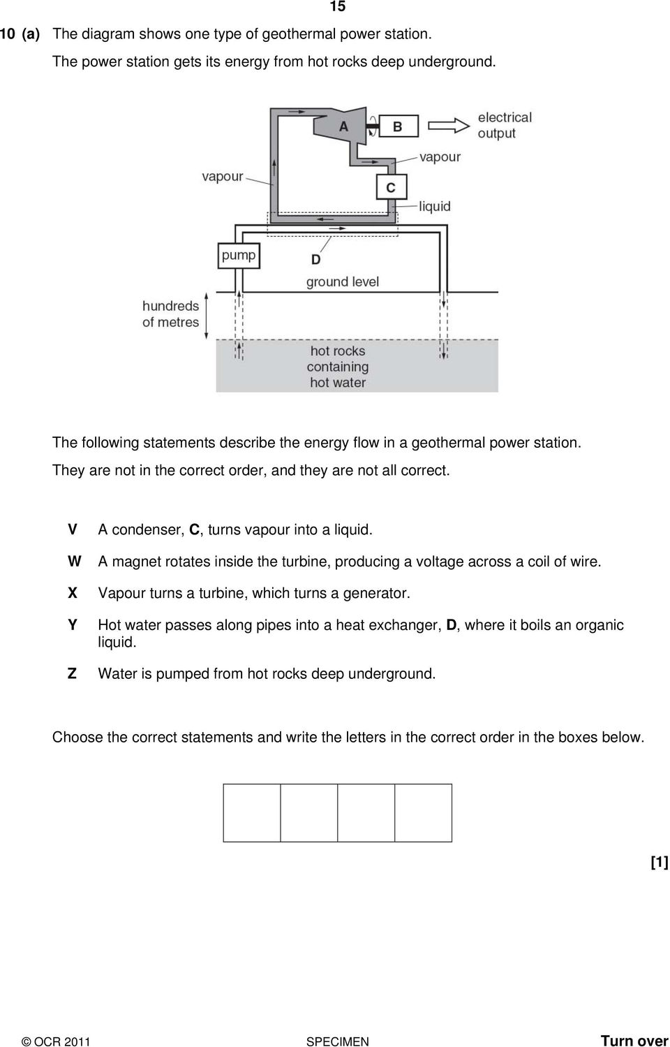 Specimen Twenty First Century Science A181 02 Physics A General Geothermal Power Plant Block Diagram V W X Y Z Condenser C Turns Vapour Into Liquid Magnet Rotates Inside The