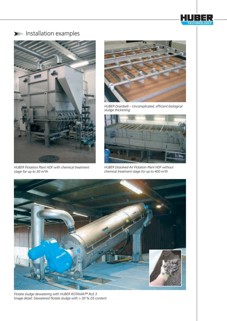 Air Flotation Plant HDF without chemical treatment stage for up to 400 m 3 /h Flotate sludge