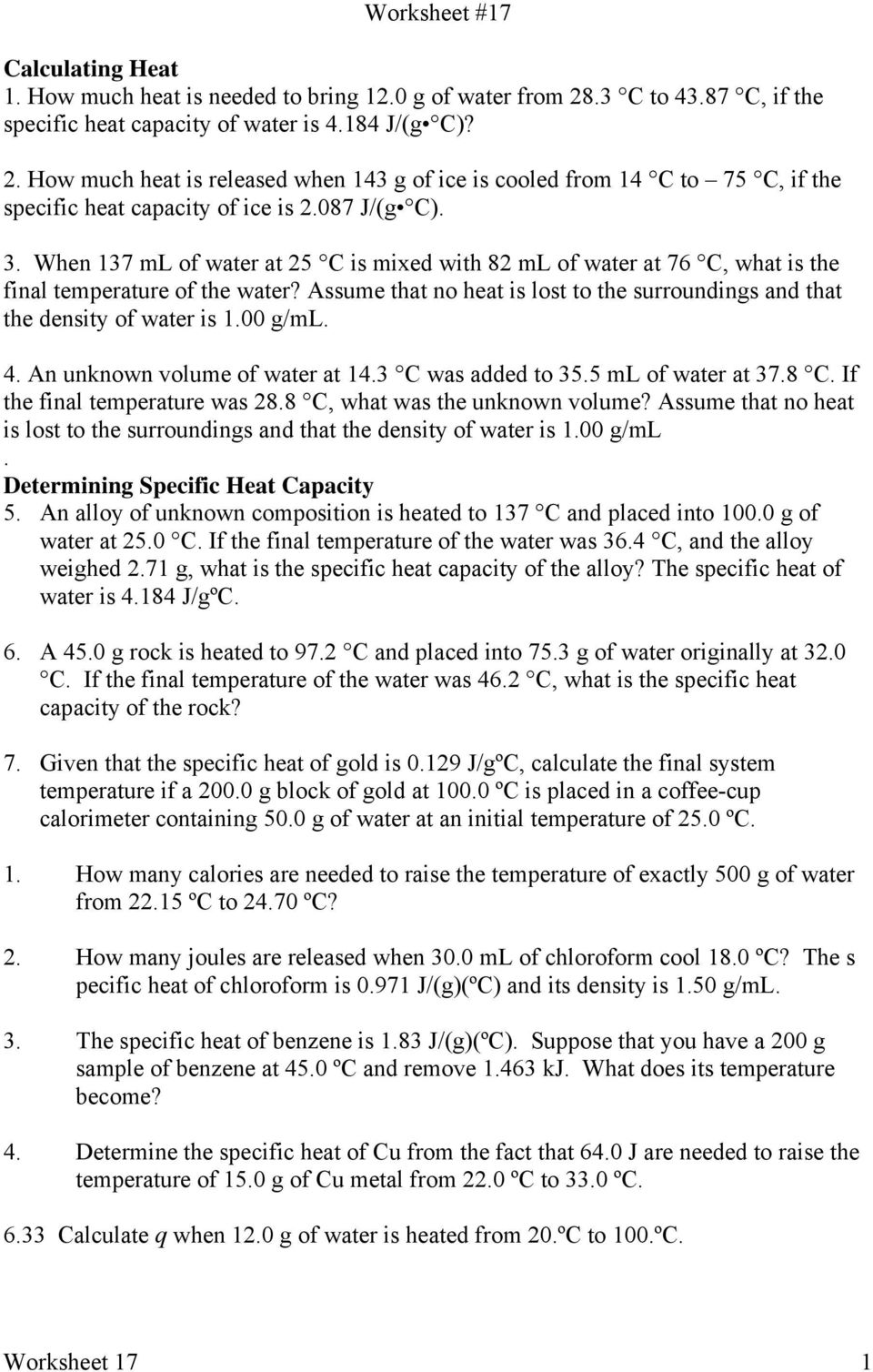 worksheet Specific Heat Capacity Worksheet worksheet how much heat is released when 143 g of ice cooled 137 ml water at 25 c mixed with 82 at