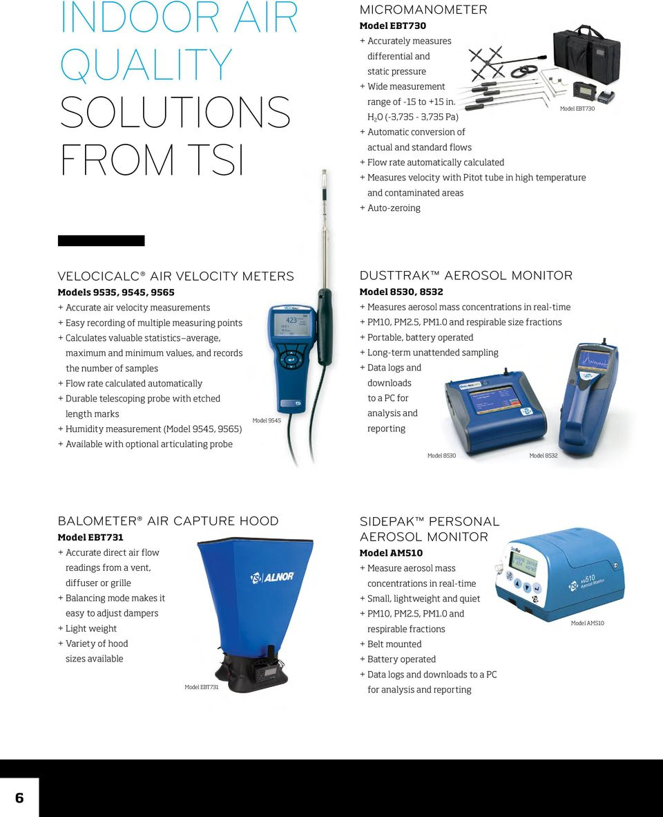 areas + Auto-zeroing VELOCICALC AIR VELOCITY METERS Models 9535, 9545, 9565 + Accurate air velocity measurements + Easy recording of multiple measuring points + Calculates valuable statistics